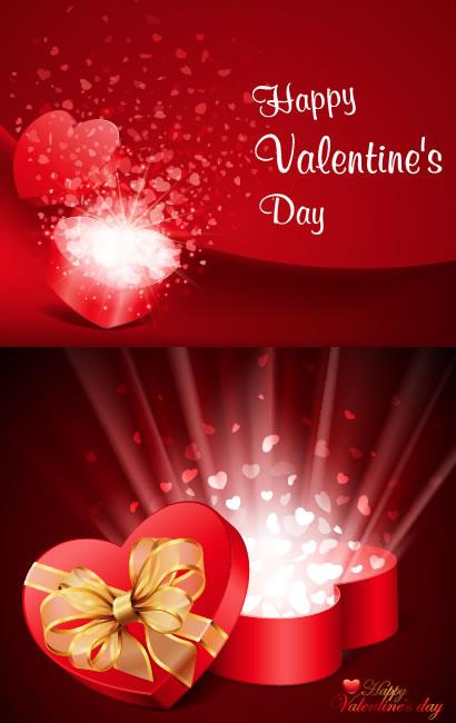 バレンタインデー,バレンタインチョコレート箱,ハートマーク型箱,リボン,カード背景イメージ ベクターイラスト素材