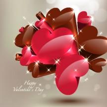 バレンタインデー,ハートマーク型,カード背景イメージ ベクターイラスト素材