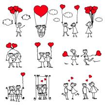 バレンタインデー,ハートマーク型風船,結婚式,ウエディング,人物,男女カップル,デート,手描き風線画ラフスケッチ,雲 ベクターイラスト素材