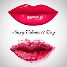 バレンタインデー,キスマーク,口紅の跡,唇,くちびる,手描き風,水彩画 ベクターイラスト素材