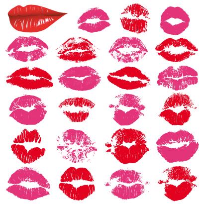 バレンタインデー,キスマーク,口紅の跡,唇,くちびる,手描き風,シルエット ベクターイラスト素材