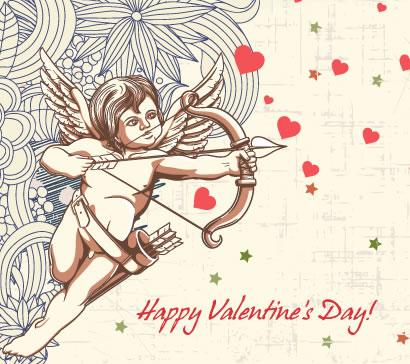 バレンタインデー,ハートマーク型,結婚式,ウエディング,天使,恋のキューピット,弓矢,花,レトロ,カード背景イメージ ベクターイラスト素材