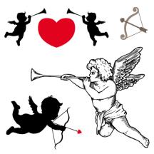 キューピット,天使,シルエット,ラッパ,弓矢 ベクターイラスト素材