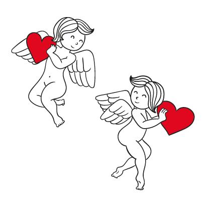 ハートを持った双子の天使,バレンタインデー ベクターイラスト素材