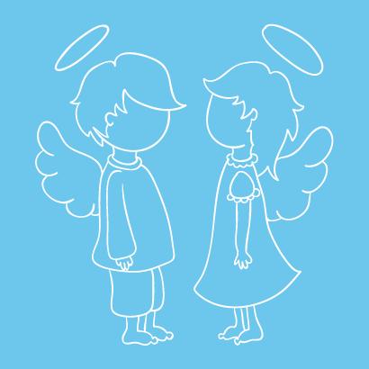 天使,子供,線画 ベクターイラスト素材