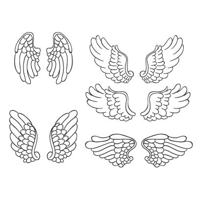 天使の羽根,鳥の翼,手描き風,線画 ベクターイラスト素材
