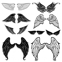 鳥の翼,天使の羽根,ロゴマーク,紋章,シルエット ベクターイラスト素材