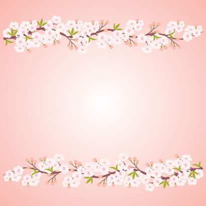 桜の枝,花飾り,フレーム枠 ベクターイラスト素材