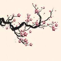 桜の枝,手描き風 ベクターイラスト素材