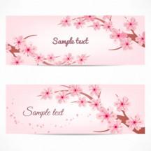 桜の花バナー ベクターイラスト素材